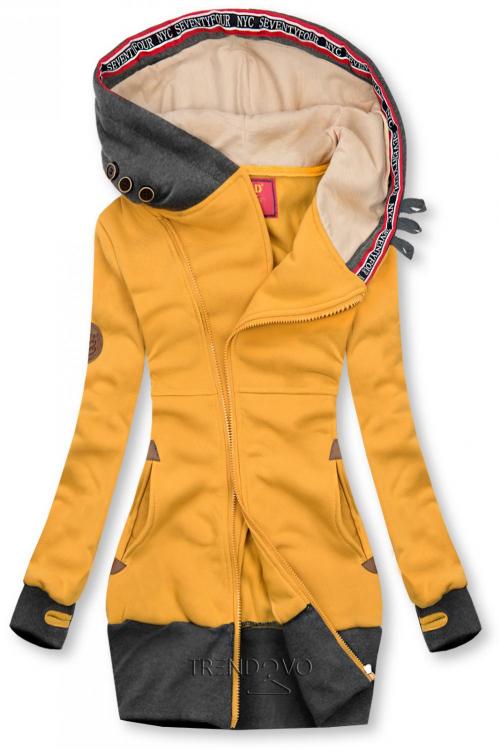 Predĺžená mikina s kapucňou žltá/grafitová