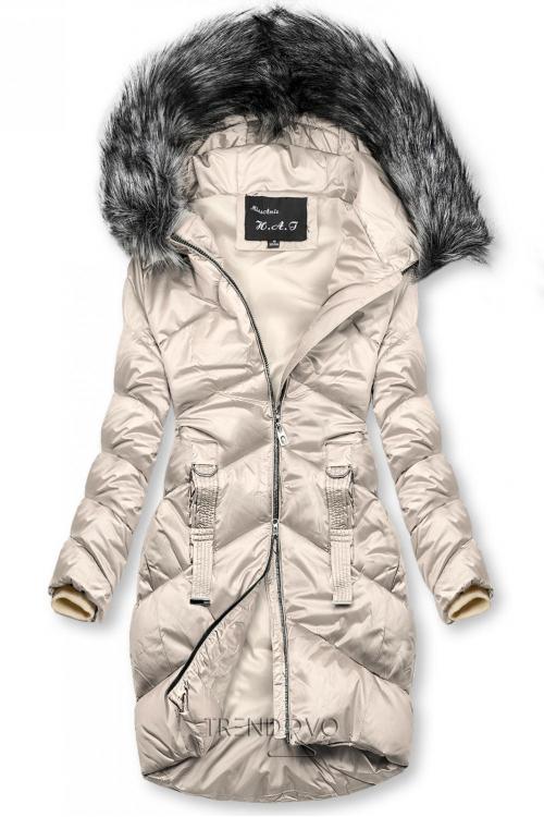 Krémová lesklá prešívaná bunda na zimu