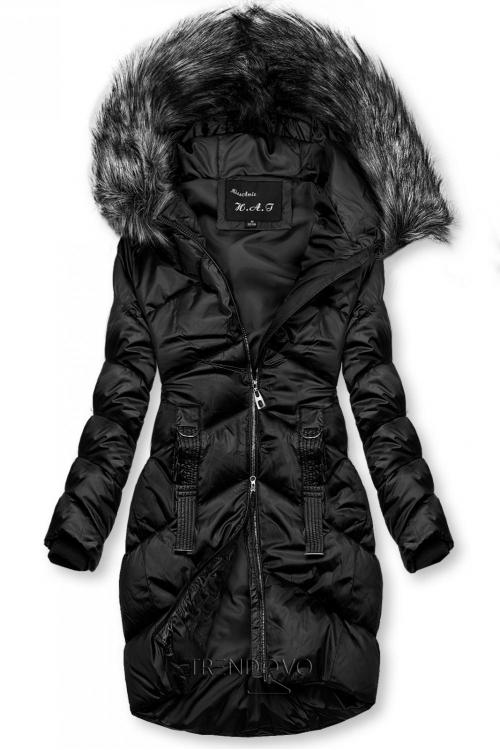 Čierna lesklá prešívaná bunda na zimu