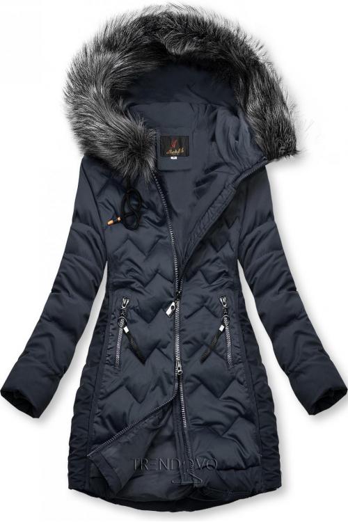 Tmavomodrá prešívaná bunda na obdobie jeseň/zima