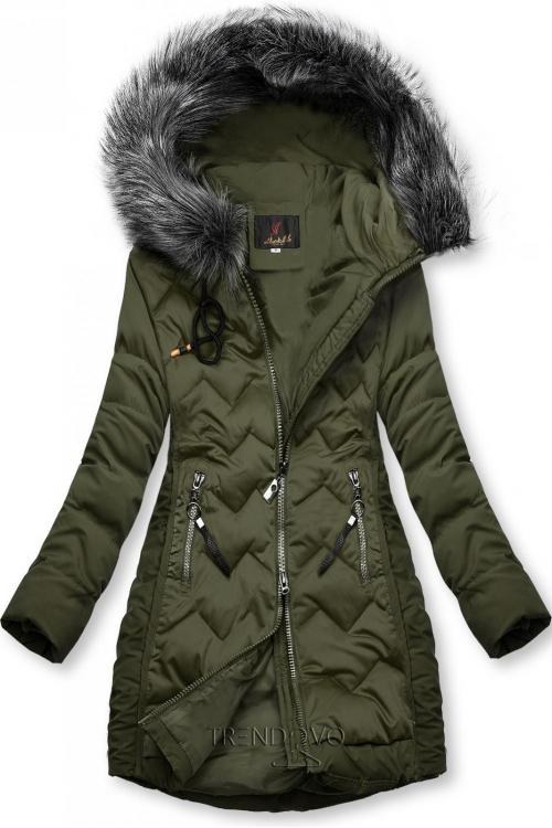 Khaki prešívaná bunda na obdobie jeseň/zima