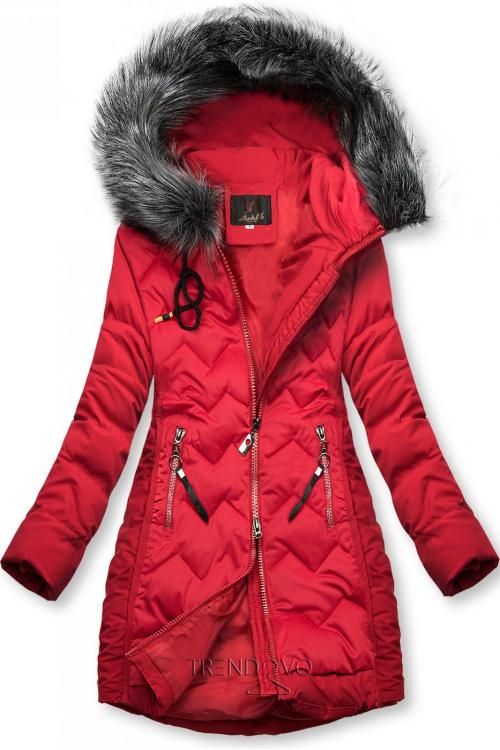 Červená prešívaná bunda na obdobie jeseň/zima