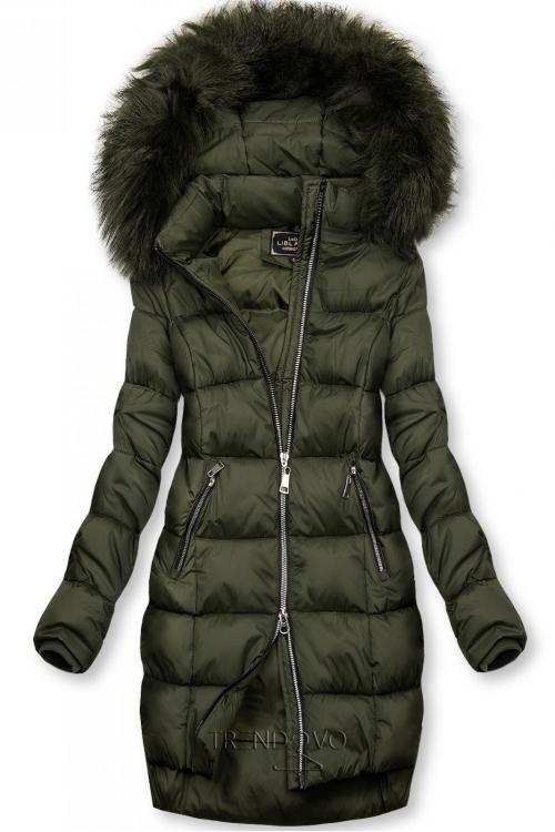 Khaki zimná bunda na zips