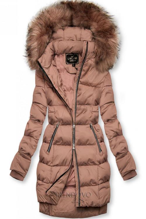 Staroružová zimná bunda na zips