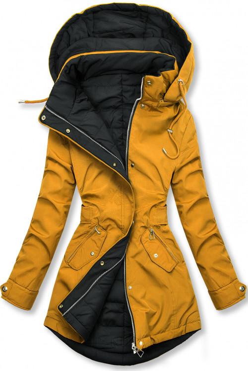 Žltá/čierna obojstranná jesenná bunda