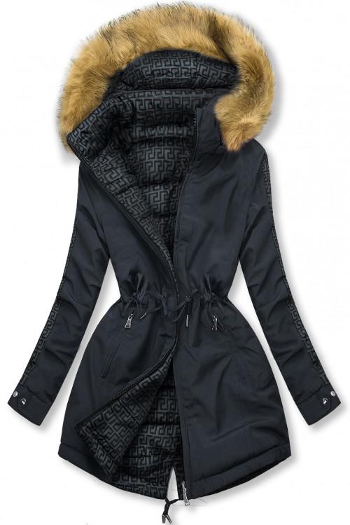 Tmavomodrá/sivá prešívaná obojstranná bunda