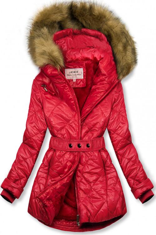 Červená lesklá zimná bunda s opaskom