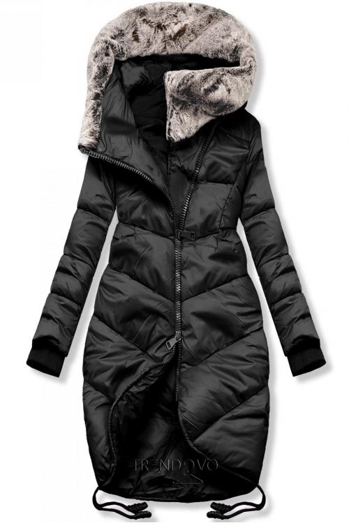 Čierna zimná bunda v predĺženom strihu