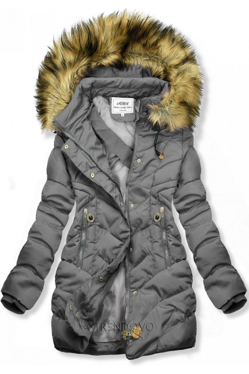 Sivá prešívaná bunda na jeseň/zimu