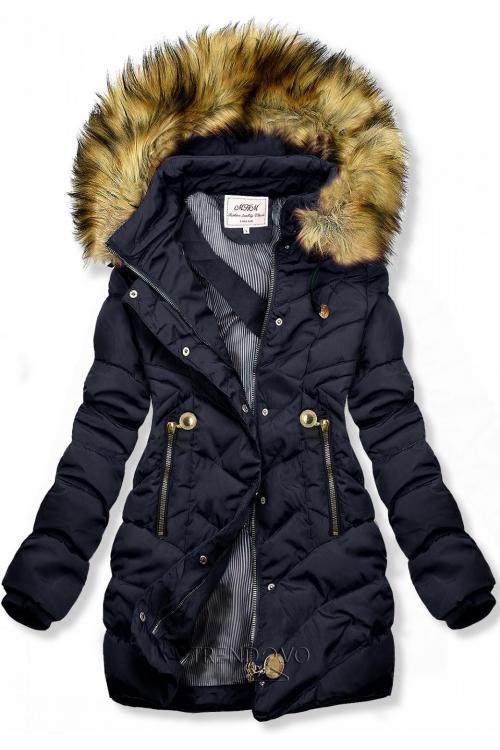 Modrá prešívaná bunda na jeseň/zimu