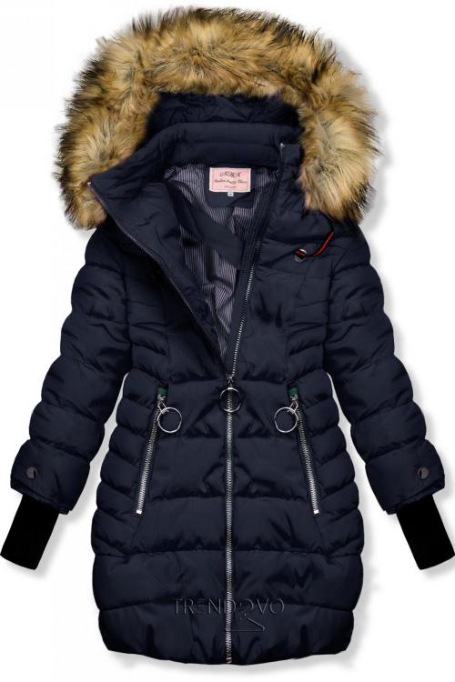 Tmavomodrá zimná bunda s predĺženými rukávmi