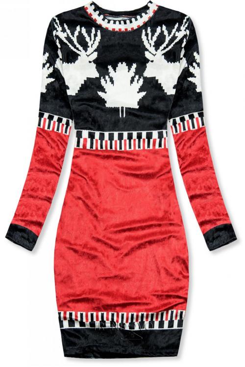 Modro/červené zamatové vianočné šaty 861060