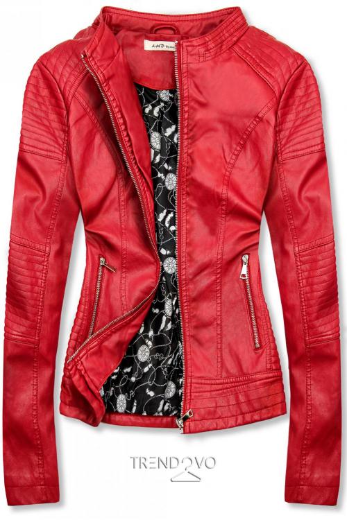 Červená prešívaná koženková bunda