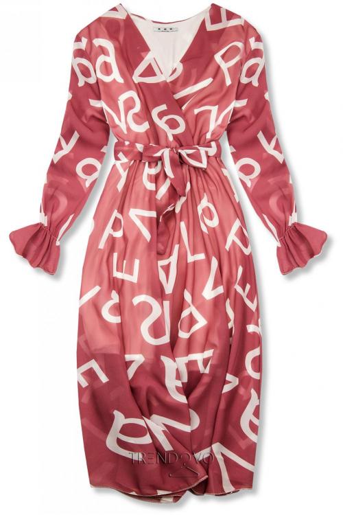 Tmavoružové midi šaty s potlačou písmen