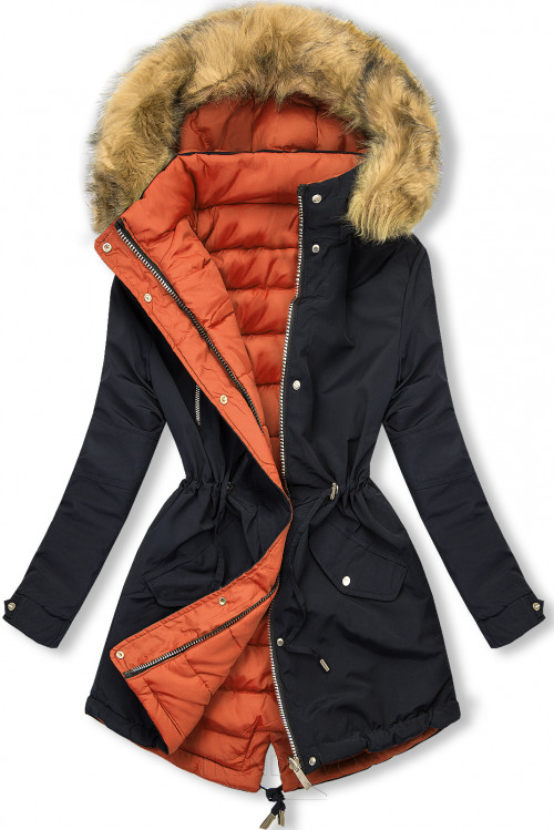 Zimná parka obojstranná tmavomodrá/oranžová