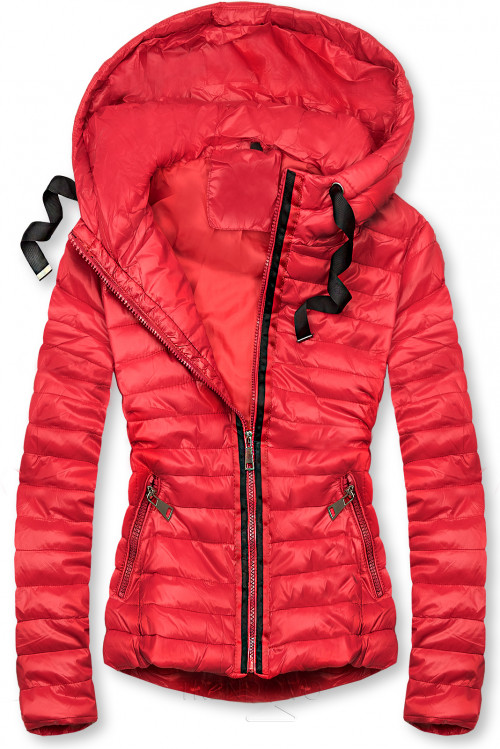 Červená prešívaná lesklá bunda