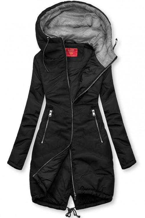 Čierna predĺžená bunda s kapucňou