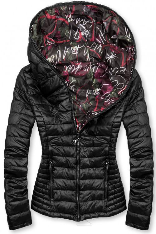 Čierna prešívaná bunda s farebnou podšívkou