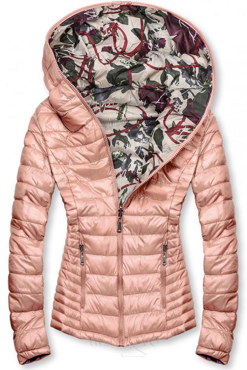 Ružová prešívaná bunda s farebnou podšívkou