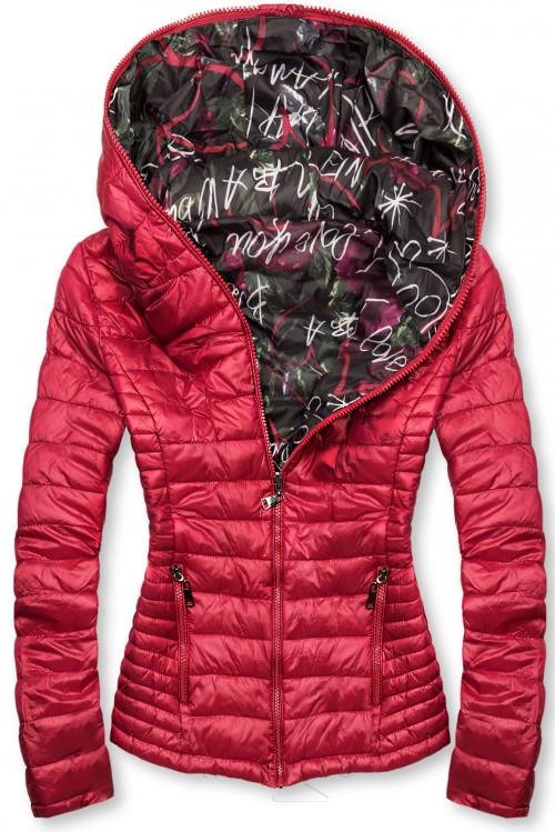 Červená prešívaná bunda s farebnou podšívkou