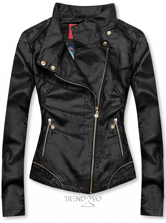 Čierna krátka koženková bunda