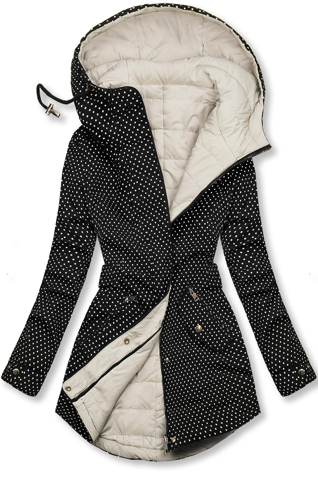 Bodkovaná obojstranná bunda čierna/ecru
