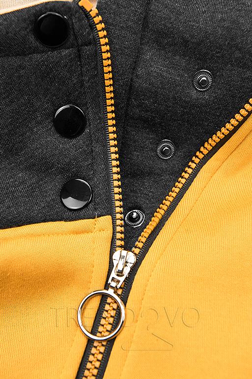 Žltá mikina so šikmým zipsom