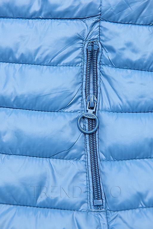 Obojstranná bunda s kvetinovým futrom modrá