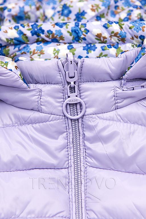 Obojstranná bunda s kvetinovým futrom lila