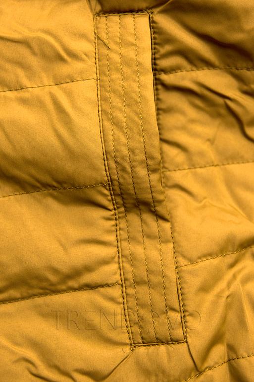 Parka s odopínateľnou kapucňou khaki/žltá