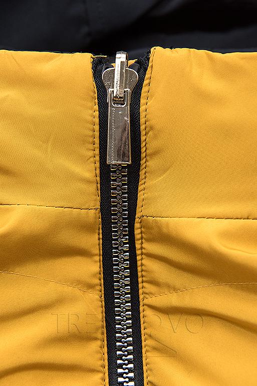 Obojstranná bunda tmavomodrá/žltá