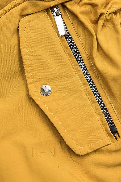 Žlto/modrá parka s kapucňou