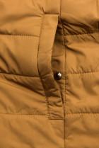 Bodkovaná obojstranná bunda čierna/karamelová