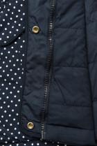 Bodkovaná obojstranná bunda tmavomodrá