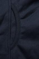 Tmavomodrá predĺžená mikina na zips