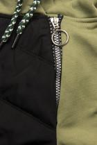 Khaki súprava v kombinovaných materiáloch