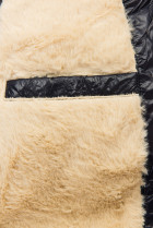 Tmavomodrá/béžová lesklá bunda s opaskom