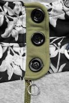 Khaki predĺžená mikina s kvetinovým vzorom