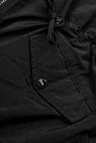 Čierna-čierna parka s kožušinovým lemom