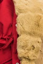 Červená-béžová parka s kožušinovým lemom