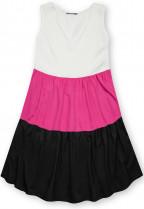 Letné šaty z viskózy biela/fuchsiová/čierna
