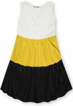 Letné šaty z viskózy biela/žltá/čierna