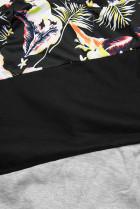 Sivá/čierna kvetinová mikina