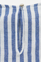 Bielo-modré pruhované šaty s volánmi