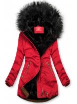 Červeno-čierna zimná parka