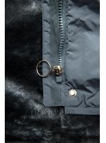 Sivá zimná bunda s plyšovou podšívkou