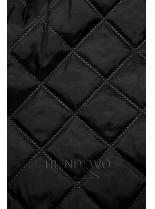 Tmavozelený kabát s koženkovými detailami