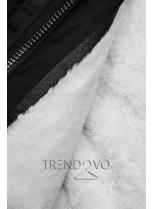 Zimná parka s odnímateľnou podšívkou čierna/biela