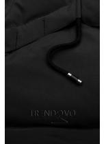 Čierna zimná bunda s čiernymi detailami