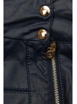 Tmavomodrá krátka koženková bunda